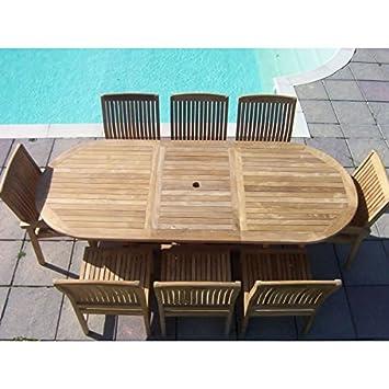 Amazon.de: 8 Stühle Esstisch, ausziehbar, Oval, Holz, Teak, Set, 8 ...