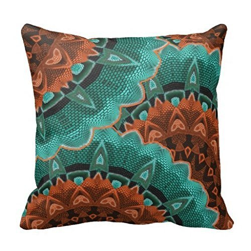 Polyester Large Flowery Teal Brown Orange Pattern Pillow Cover Square Home  Decor Cushion Cover 16 X 16 Inch