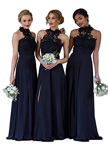 Anna's Bridal Women's Bridesmaid Dresses Long Lace 2018 Wedding Party Dress Navy Blue US4