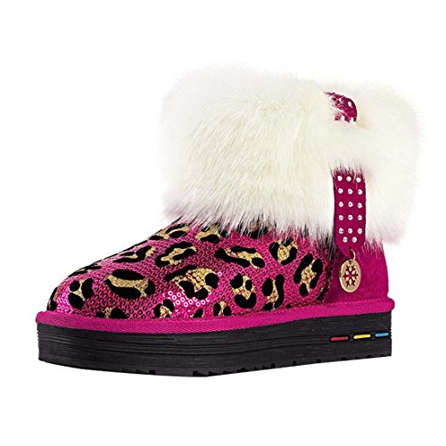 HooH Women's Nubuck Leopard Diamonds Snow Boots 5890 Red uIXsho
