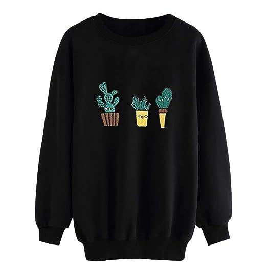26cabd7e8d Fashion Women Black Cactus Print Long Sleeve Casual Pullover Sweatshirt