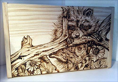 - Handmade Baby Raccoon Woodburned Wildlife Box