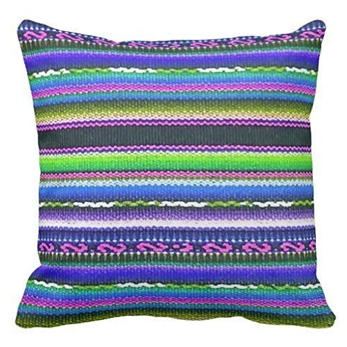 Zhi Fan Home Décor Peruvian Tribal Blue Hues Print Throw Pillow Case 18