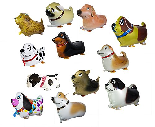 Walking Animal Balloon Happy Birthday Party Set of 12 dog Pack Mylar Foil Helium Reusable Ballons For Congratulation Decoration Anniversary Festival Graduation Bouquet Gift Idea Engagement Celebration -