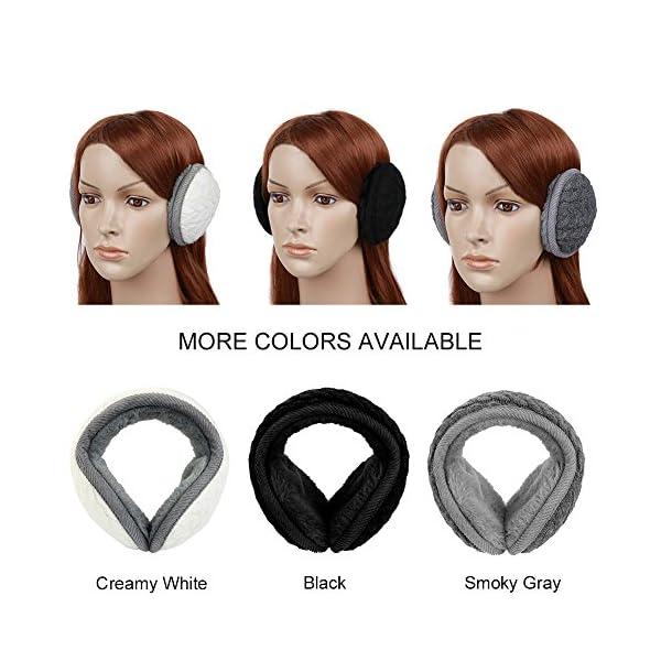 Vbiger Unisex Foldable Earmuffs Warm Knit Ear Warmers Men Women Fleece Winter EarMuffs (Black)