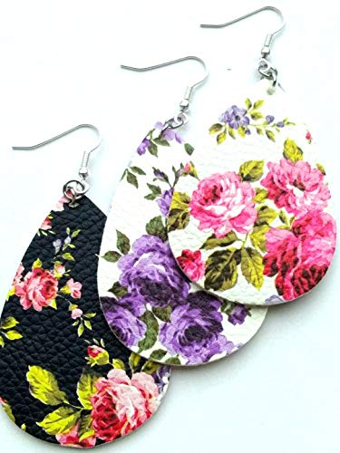 10pairs/pack 2018 Unique Design Cut Out Rose Floral Print Leather Teardrop Earrings