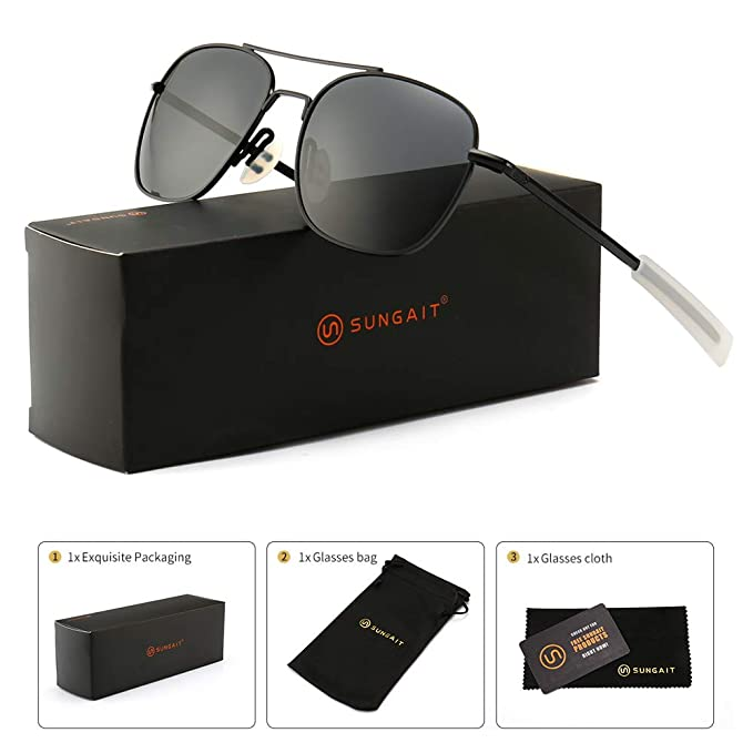 086261c4c0 SUNGAIT Men s Military Style Polarized Pilot Aviator Sunglasses - Bayonet  Temples (Black Frame Gray