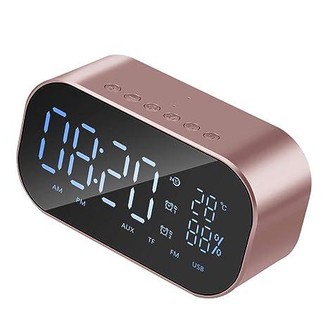 P Prettyia Reloj de Espejo Digital Sobremesa Despertador Altavoz Subwoofer Estéreo Bluetooth 4.2 - Oro Rosa