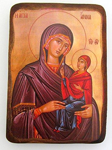 (Handmade Wooden Greek Christian Orthodox Wood Icon of Saint Anna / 1AP)