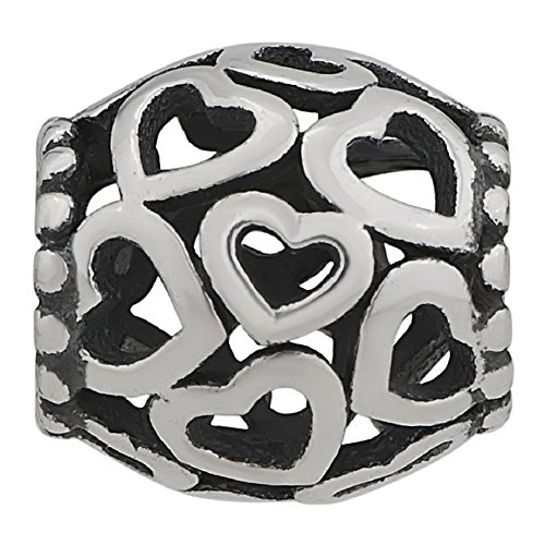 925 Sterling Silver Hollow Hearts Love Charm Fit European Charm (Spuds Mackenzie Halloween)