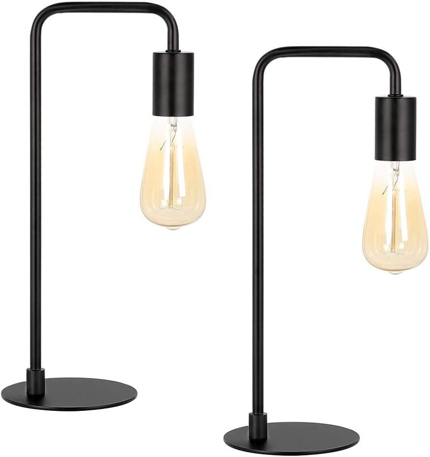 Industrial Table Lamp Set of 2, Small Black Metal Desk Lamp Suit for Bedroom Nightstand Dressers Office Living Room Coffee Table College Dorm, Vintage Bedside Table Lamps