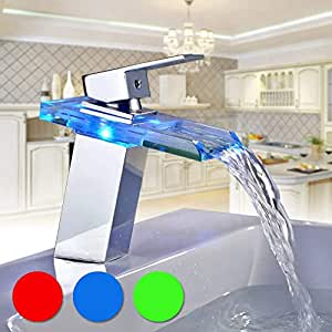 BONADE Grifo de Cristal para Baño con Luces LED RGB, Cascada de Lavabo Monomando, Cuenca Mezclador Agua Fría y Caliente, Plata