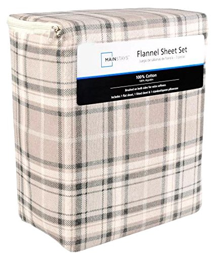 - Mainstays Flannel Sheet Set 100% Cotton, Brushed on Both Side, NEUTRAL PLAID Theme (Gray and Cream) (FULL)