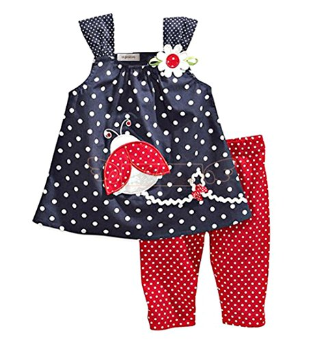 stylesilove Baby Girls Sleeveless Tunic Red Pants 2-pc
