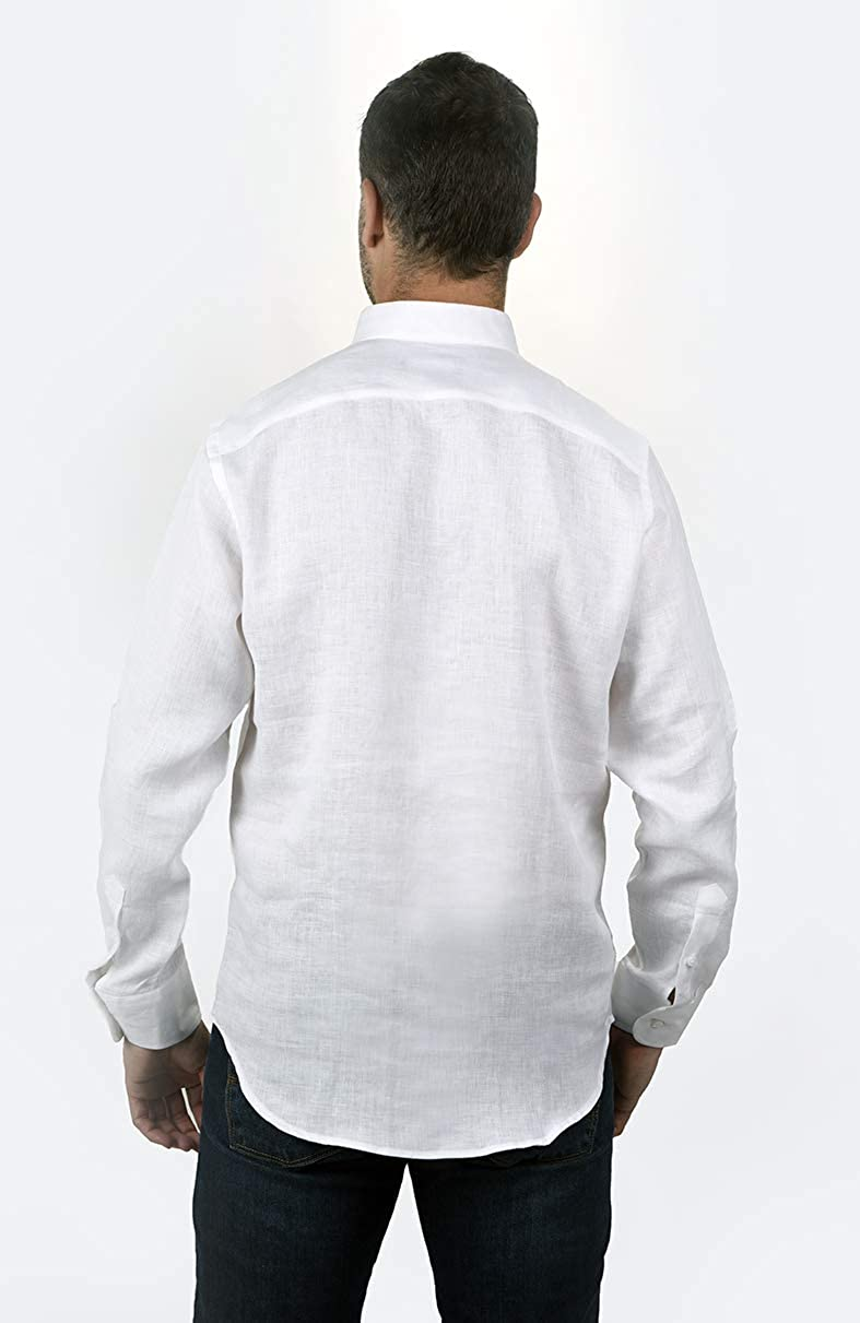 Camisa POLERA Cuello Mao Lino Blanca (XL): Amazon.es: Ropa y ...