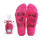Mom off Duty, Ask your Dad Funny Socks - Cool Pink Fuzzy Novelty Cupcake Packaging for Her - Gift Idea for Mom, Wife, Sister, Friend, Aunt or Grandma - Birthday, Christmas Stocking Stuffer - 1 Pair