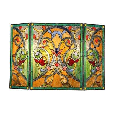 MYRTLE Tiffany-style Victorian 3pcs Folding Fireplace Screen