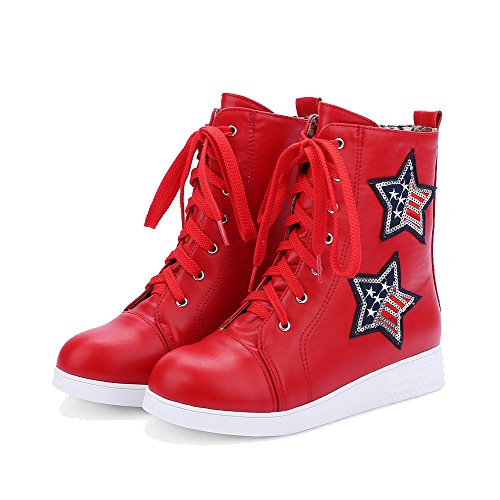 Allhqfashion Mujeres Round Closed Toe Low-heels Material Suave Low-top Assorted Color Botas Red