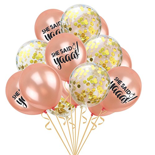 Gbell  Confetti Balloons Pink and Gold,15 Pcs/Set 12 Inch Foil Latex Inflatable Portable Birthday Balloons for Celebration 2019 Graduation Party Supplies Festival Decorating