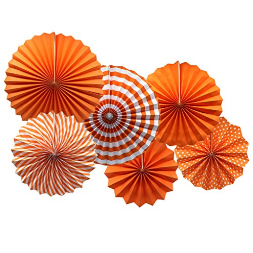 Party Hanging Paper Fans Set, Orange Round Pattern Paper Garlands Decoration for Birthday Wedding Graduation Events Accessories, Set of 6 -