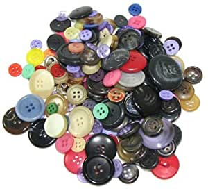 """Bag of (100) Very Assorted Buttons. Assorted Colors. Sizes Range From 3/8"""" to 1-1/2"""""""