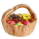 WELLAND Root Wood Crafts Basket w/ Handle for Fruit Vegetable Food Display, Large Size, Natural