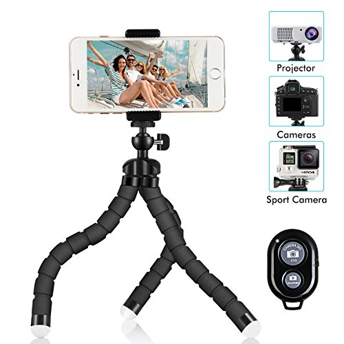 Phone Tripod, SIX-QU 8.3in Adjustable and Flexible phone Stand Holder with Wireless Remote Shutter and Universal Clip For iPhone, Android Phone, Camera and Gopro
