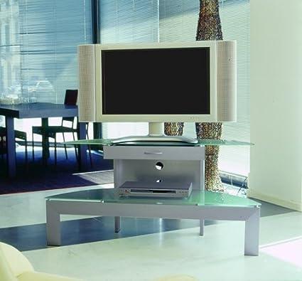 Porta Tv Cristallo Design.Mobile Porta Tv Ellisse 120 Con Cassetto Realizzato In Alluminio