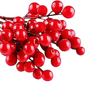 IFOYO Red Berries, 10 Artificial Red Berry Stems for Christmas Tree Decorations, Crafts, Holiday and Home Decor, 7.28 Inches 2