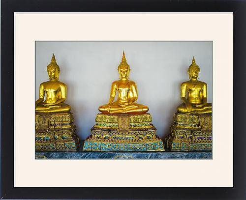 Framed Print of Golden Buddha statues, Wat Pho (Temple of the Reclining Buddha), Bangkok by Robert Harding
