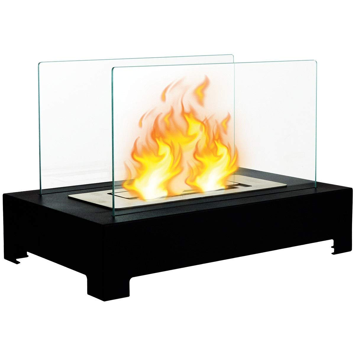 NanaPluz 18'' Portable Stainless Steel Ventless Tabletop Bio Ethanol Fireplace Tempered Glass Freestanding with Ebook by NanaPluz