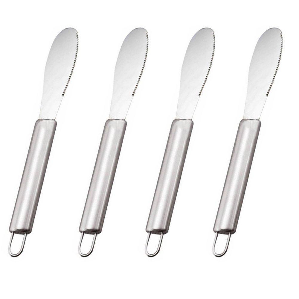 VEIREN 4 Pack Butter Spreader Wide Knives Sandwich/Cream/Cheese/Condiment Spreaders Spatula Set Kitchen Tool Stainless Steel 8