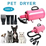 YaeCCC Portable Dog Cat Pet Grooming Dryer 2400w Salon Blow Hair Dryer Quick Draw Hairdryer with Different 4 Nozzles Pet Hairdryer Machine Set (Pink)