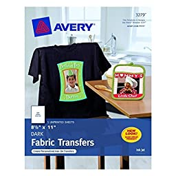 Avery 3279 White Ink Jet Iron On Dark T-Shirt Transfers 5 Count
