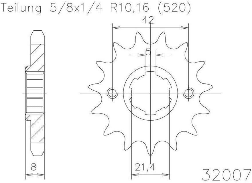 5//8x1//4 Ritzel 15 Z/ähne Stahl 520er Teilung f/ür Yamaha XT 600 Z Tenere 34L 1983-1984
