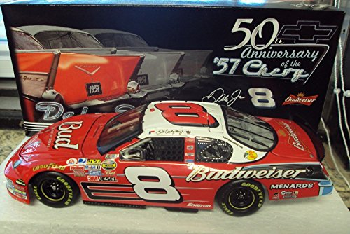 2007 Dale Jr #8 Dale Earnhardt Jr Budweiser 1957 '57 Chevy BelAir Throwback Paint Scheme Monte Carlo 1/24 Scale Diecast Hood Opens Trunk Opens Limited Edition