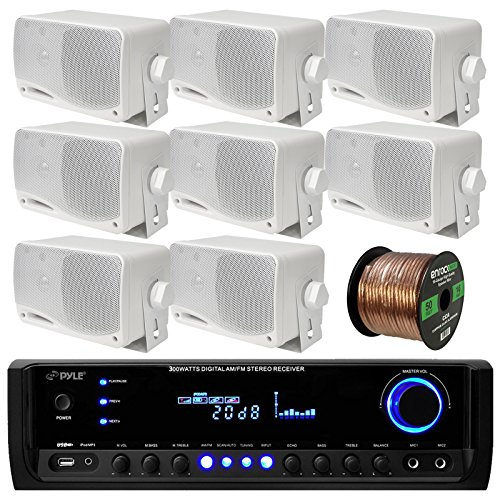 Pyle PT390BTU Bluetooth Digital Home Theater 300-Watt Stereo Receiver Bundle Combo With 8x White 3'' Inch 3-Way Wall Mount Home Audio Speakers + Enrock 50 Ft 16g Speaker Wire by EnrockAudioBundle