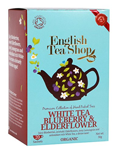 English Tea Shop White Tea Blueberry and Elderflower Tea Bags, 30 Gram (Pack of 6)