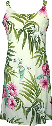 RJC Women's Breathtaking Island Getaway Short Hawaiian Bias Cut Slip Dress Beige Large