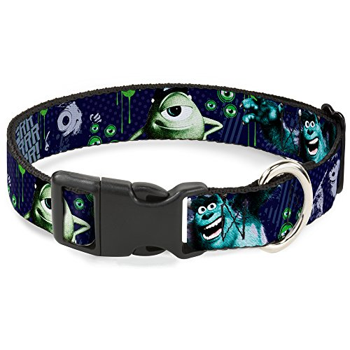 Buckle-Down Plastic Clip Collar - Monsters University Sully & Mike Poses/GRRRRR! - 1.5
