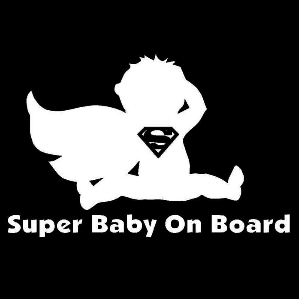 MKeDa 5 PCS Cute Baby Super Baby on Board Car Sticker Adesivo Riflettente per Il Corpo