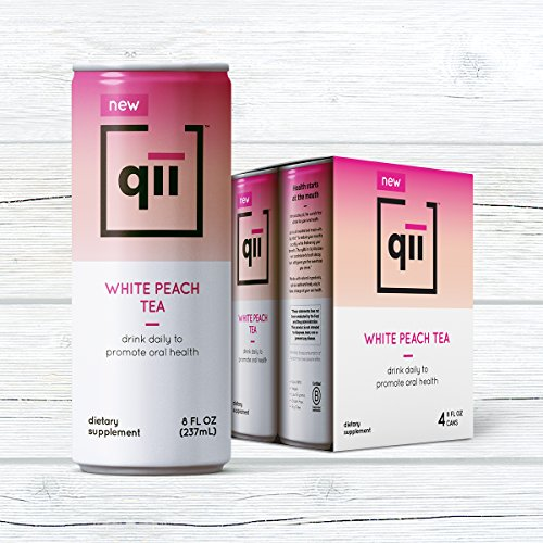 qii White Peach Tea – Removes up to 52% of plaque in one serving, Neutral pH, Sweetened with Xylitol, Dentist-Approved, Brewed with Certified Organic Tea, 30 calories, 4 pack - 8 oz cans