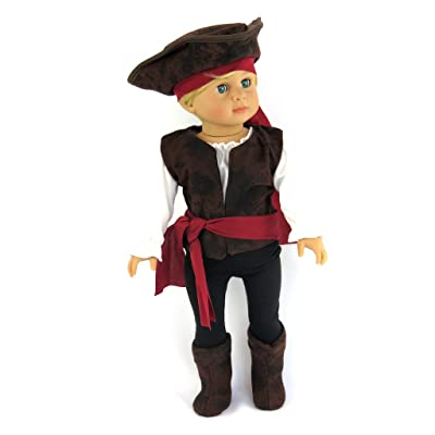 American Fashion World Boy- Pirate Buccaneer 7PC. Halloween Costume Fits 18-inch Dolls and Dolls Alike: Toys & Games