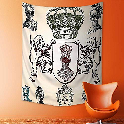 Tapestry Wall Hanging Collection Iron Helmet of The Medieval Knight Heavy Headdress Tournament Tradition Design Art Wall Tapestry for Bedroom Dorm Decor