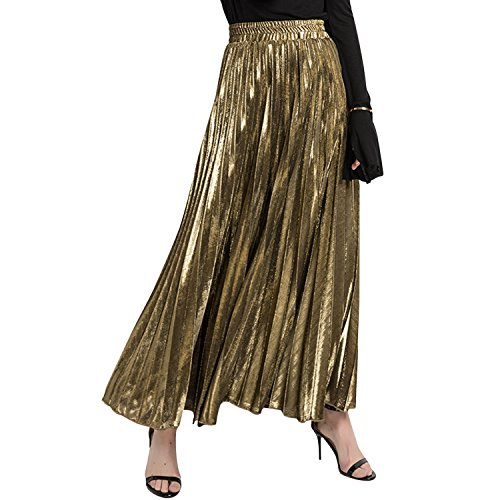 Misscat Women Pleated Maxi Skirt Retro Vintage Summer Beach Loose Flared Dress by Misscat