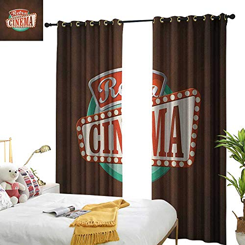 Insulated sunshade curtain Movie Theater Retro Style Cinema Sign Design Film Festival Hollywood Theme Home Garden Bedroom Outdoor Indoor Wall Decorations W84