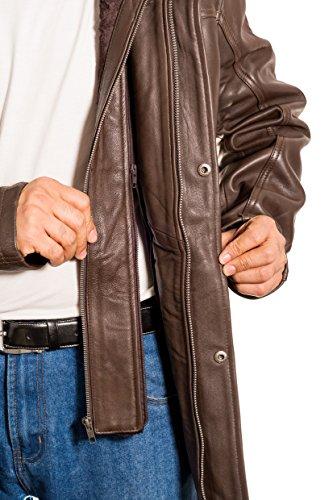 Herren Braun Leder-lange doppelt Kragen dŸnnes Mantel