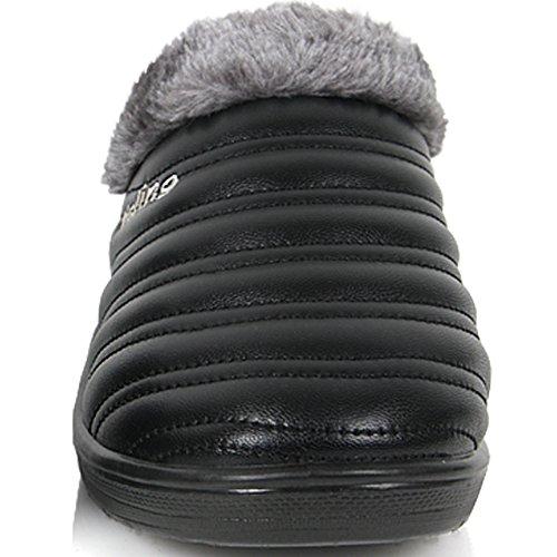 Nouveau Confort Hiver Chaud Mule Décontracté Slip Sur Mocassins Glissement Pantoufle Chaussures Noir
