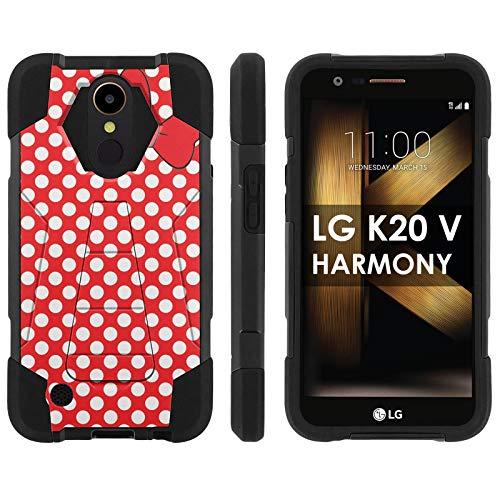 [Mobiflare] LG LG [K20 V/ K20 Plus] LG Harmony (Black) Dual Layer Armor Case [Kickstand] [Red Polk-a-Dots with Bow Print]