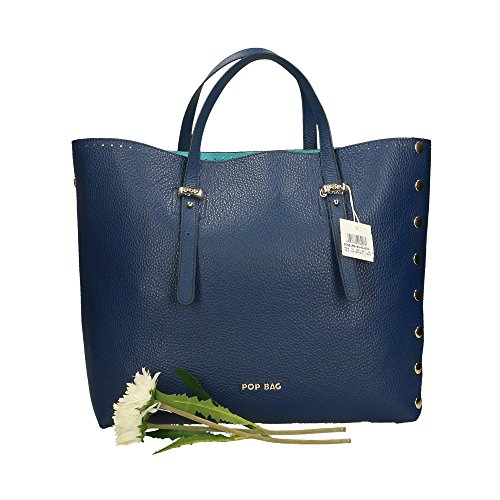 34x31x15 POP Made en Cm Bleu Dollar main Impression à Bags véritable cuir in femme Italy Sac qwqHOc6R